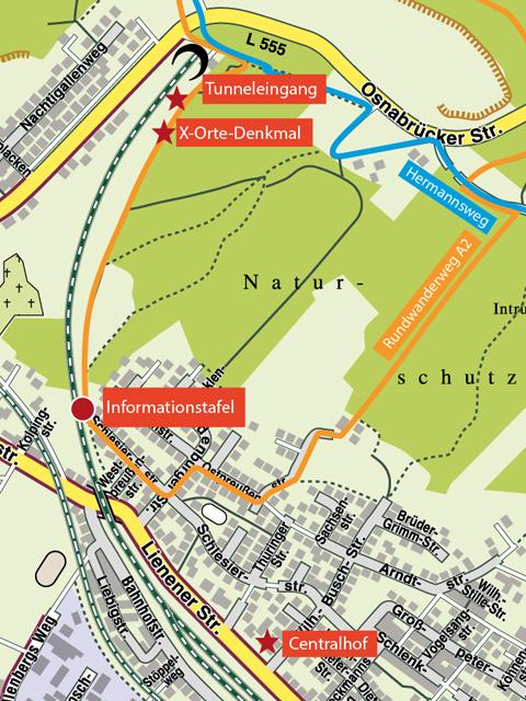 Auschnittskarte Lengerich, Alter Tunnel KZ-Außenlager Neuengamme